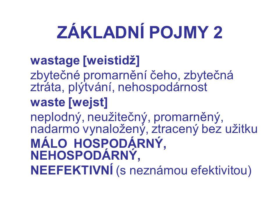 ZÁKLADNÍ POJMY 2 wastage [weistidž]
